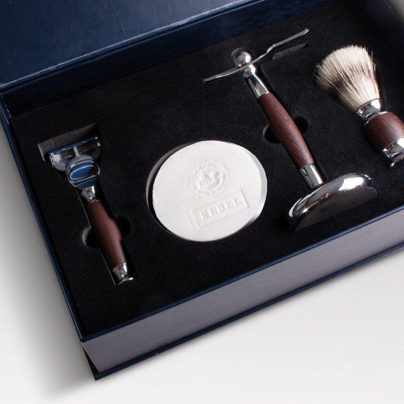 Coffret luxe de rasage REBEL pour HOMME