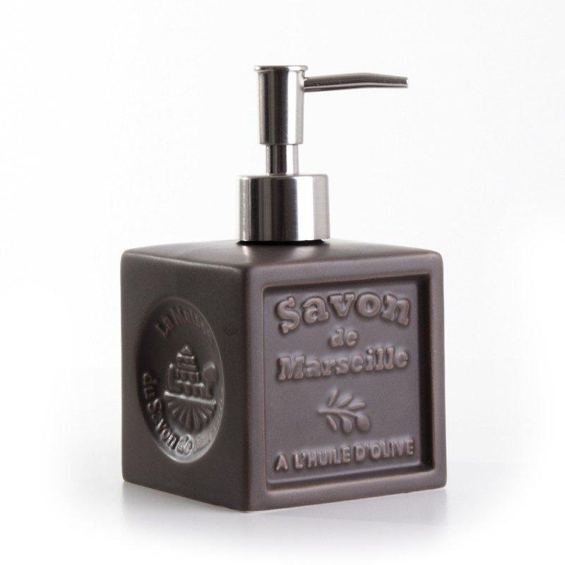 Distributeur de savon 'Cube' céramique - chocolat
