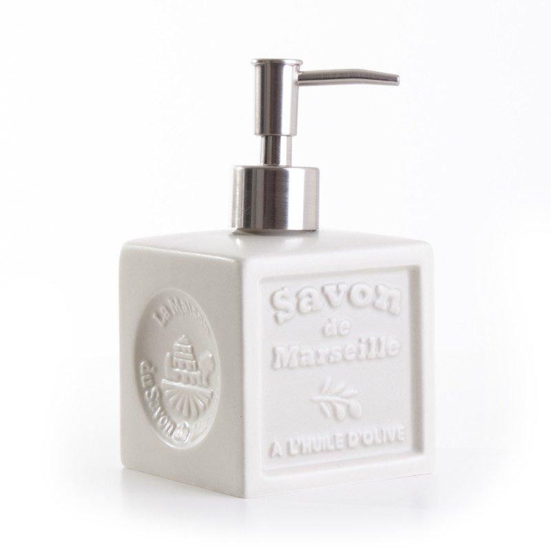 Distributeur de savon 'Cube' céramique - Ivoire