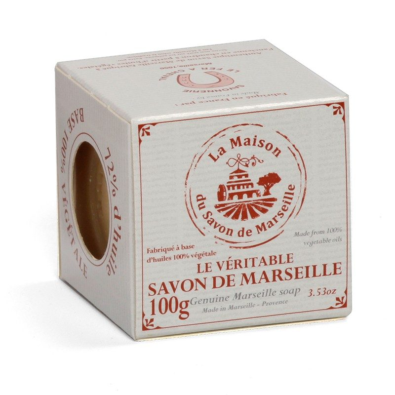 Savon de Marseille en boîte - Cube 100gr 72% Huile végétale