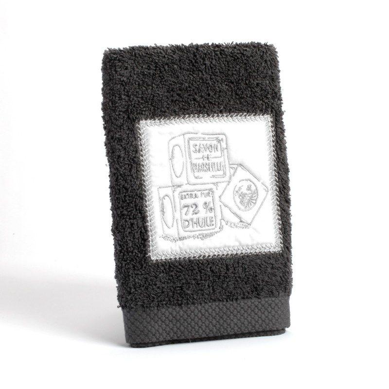 Serviette éponge invité 30x50 - gris fonce 100% coton
