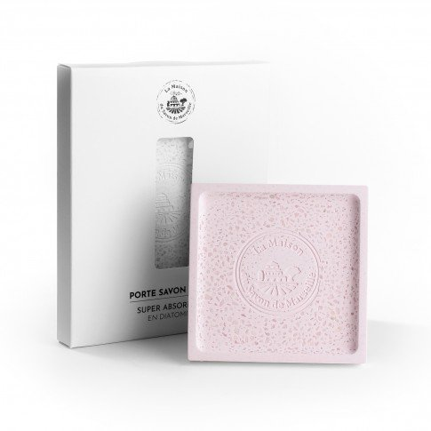 porte-savon-diatomite-carree-couleur-rose