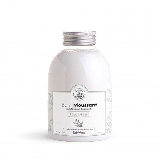 Une formule de bain moussant enrichie au lait d'ânesse pour le soin de la peau. Parfum 'Thé blanc' Nouvelle formule: sans SLS (Sulfates, considérés comme irritants pour la peau)